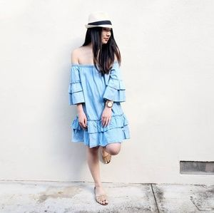 Dresses & Skirts - Chambray Off The Shoulder Tiered Dress